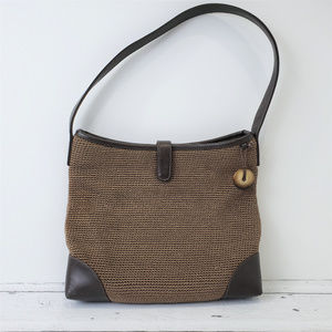 The SAK Brown Straw Purse Shoulder Bag